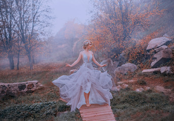 Mysterious attractive elf in a luxurious lush purple dress walks against the backdrop of autumn hills. Dress waving when walking like a flower. Autumn weather cold dense fog and orange leaves of trees