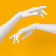 Showing woman hand. Elegant white female hand gesture pointing to something isolated on yellow, 3d rendering.