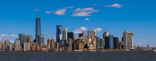 Fototapete - Panorama Scene of New york cityscape river side which location is lower manhattan,Architecture and building with tourist concept