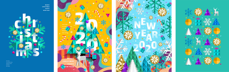 Merry Christmas and a happy new year 2020! Modern abstract geometrical illustration of a Christmas tree, snowflake and toys for the holiday poster, banner, card, background or pattern Fotomurales
