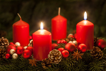 Advent wreath with candles on the second Sunday of Advent