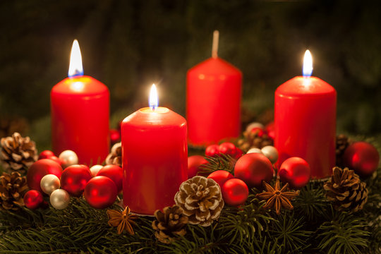 Advent wreath with candles on the third Sunday in Advent