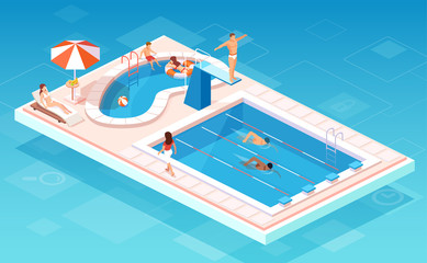 Isometric vector of a swimming pool with swimmers competing, people relaxing by the smaller pool, lifesaver being on guard