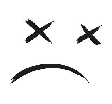 Hand drawn dead emoji black