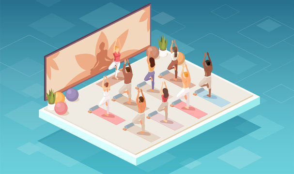 Vector of a group of people doing yoga exercises in a studio or fitness center.