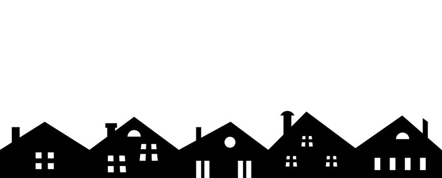black silhouette of city, group of houses, vector icon