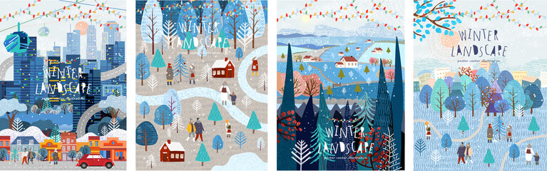 Winter nature, village, country, city landscapes. Vector illustration of natural, urban and rustic background for poster, banner, card, brochure or cover. Wall mural