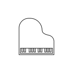 Grand piano logo template design in outline style. Vector illustration.