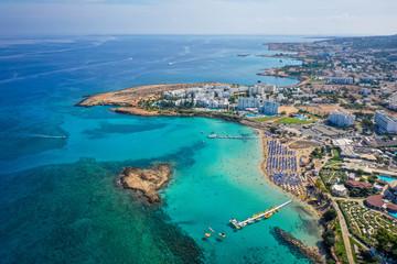 Aerial view of Nissi beach, Agia Napa, Cyprus