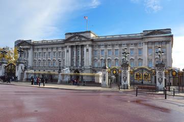 London, UK - April 2019: Buckingham palace facade in London