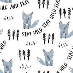 Cute wolf seamless pattern. Design for prints, shirts and posters.