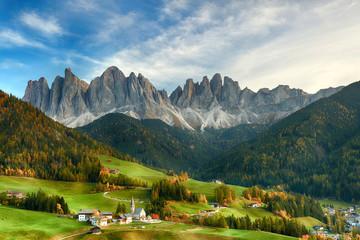 Fotobehang Alpen Beautiful landscape of Italian dolomites - Santa maddalena