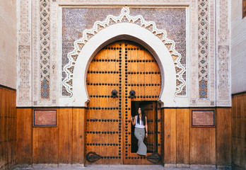 Poster Morocco Arabic mosque door in Fez, Morocco
