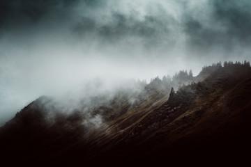 Foto auf Acrylglas Rosa dunkel Moody mountain landscape with mist and fog
