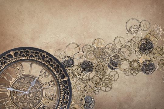 steampunk clock backdrop brown - time written gear