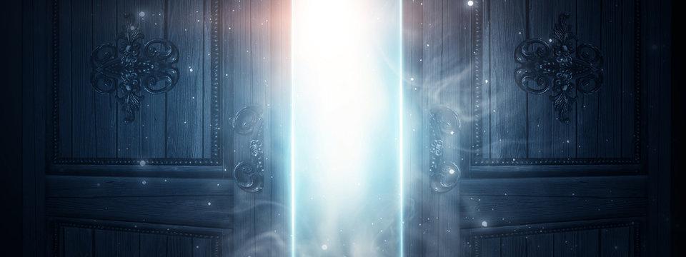 Open doors, brick old walls. Sunlight, open entrance, magic background. Night scene, rays, smoke.
