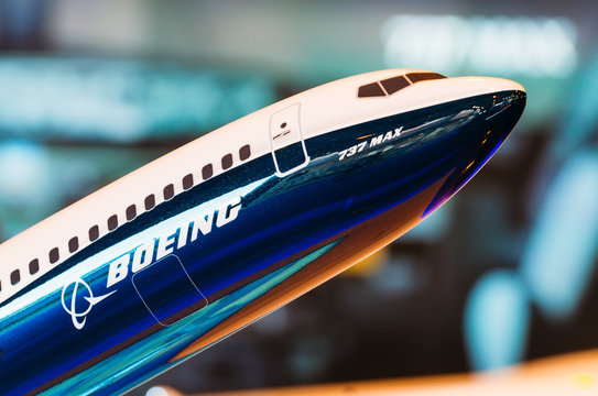 Exhibition models boeing aircraft 737 max. Russia, Moscow. July 2017.