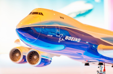 Exhibition models boeing aircraft 747. Russia, Moscow. July 2017.