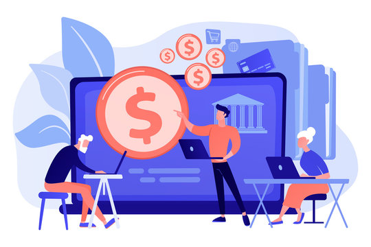 Financial consultant calculating pensioners fund. Financial literacy of retirees, retirement planning courses, retirement income control concept. Pink coral blue vector isolated illustration