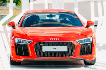 Red car Audi R-8. Russia, Moscow. 19 July 2017.