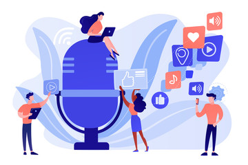 Radio advertising. Broadcasting station. Mass media marketing. Podcast content, marketing podcasts production, your content strategy concept. Pinkish coral bluevector isolated illustration