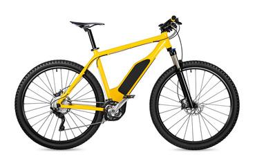 yellow ebike pedelec with battery powered motor bicycle moutainbike. mountain bike ecology modern...