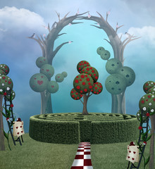 Magic trees in a surreal landscape inspired by Alice in Wonderland fairytale