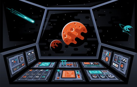 Control panel dashboard in the interior of the spaceship. Cabin of spacecraft. Planets and stars in the windows. Vector illustration.