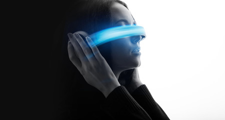 Wall Mural - Double exposure of female face. Abstract woman portrait. Digital art. Girl in glasses of virtual reality. Augmented reality, dream, future technology, game concept. VR. Blue neon light.