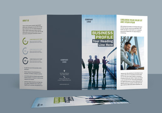 Four Fold Brochure Layout with Green and Blue Accents