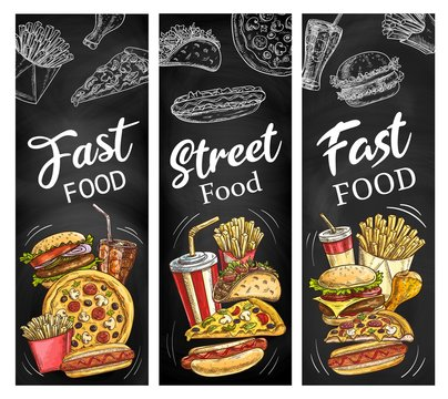 Fast food burgers, hot dogs, soda drink and pizza
