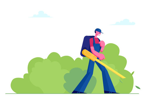 Man Janitor in Uniform with Big Backpack Blowing Autumn Leaves Away with Leaf Blower, Male Character Cleaning Street from Fallen Foliage in Fall Time. Social Service Cartoon Flat Vector Illustration