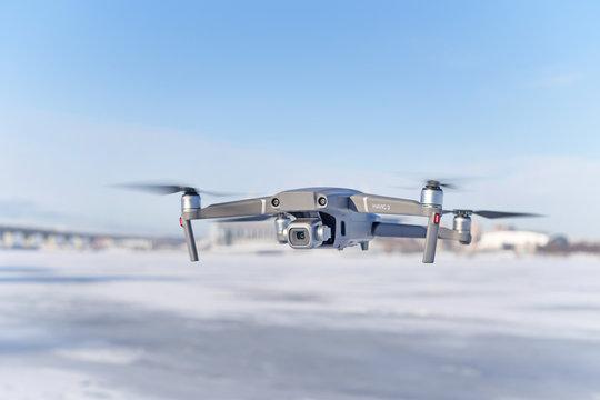 Mavic 2 pro drone during winter flight