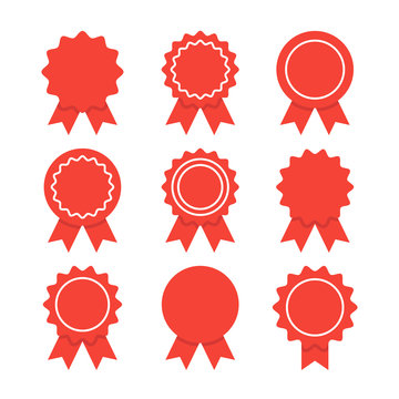 Awards, medal with red ribbons, prize set. Premium quality graphic design elements isolated on white background. Vector illustration