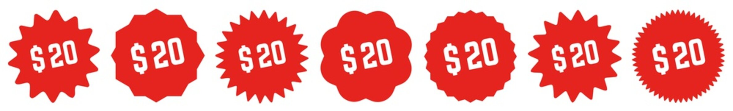 20 Price Tag Red | 20 Dollar | Special Offer Icon | Sale Sticker | Deal Label | Variations