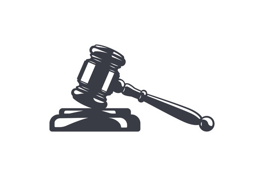 Hammer of justice vector illustation. Judge's gavel and soundboard. Judge or auction hammer. Law and justice concept.