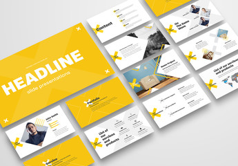 Business Presentation Layout with Yellow Crosses