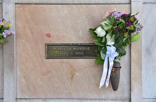 Marilyn Monroe's Tomb with Flowers Westwood Memorial Park July 2019