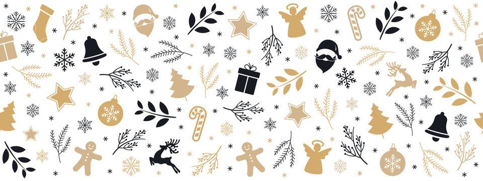 Christmas icon elements golden black border pattern isolated white background.