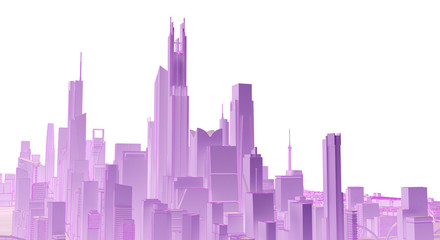 lilac low poly cityscape