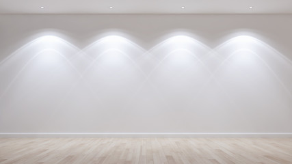Idea of a white empty scandinavian room interior illustration 3D rendering with wooden floor and large wall and white. Background interior. Home nordic