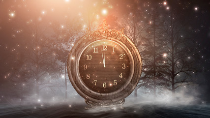 Dark abstract scene with a vintage watch. Night landscape, snow, smoke, magic fantasy with a clock. Wall mural