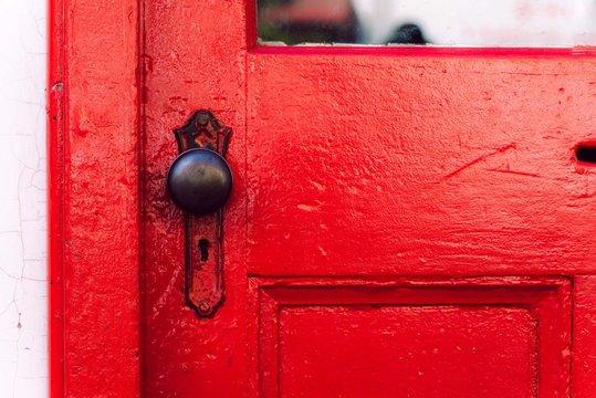 red door and its knob