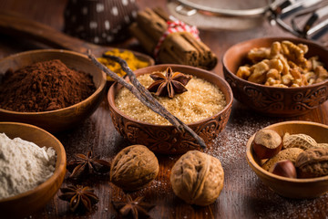 Christmas baking ingredient and spices Papier Peint
