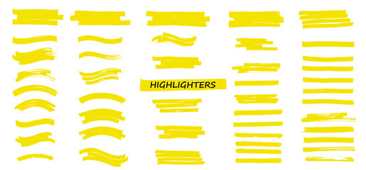 Yellow Highlighters Marker Strokes. Vector brushes lines. Marker color stroke. Yellow watercolor hand drawn highlight set. Brush pen underline lines.  Vector collection