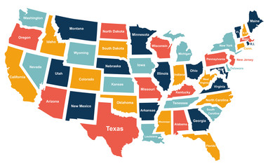 Colorful USA map with states. Vector illustration
