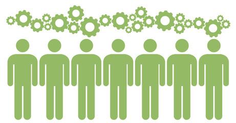 Teamwork brainstorm - ideas of people (cog,cogwheel) - interlocking cogs - green think - green concept - green idea -sign, icon, shape
