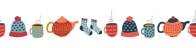 Winter hygge elements seamless vector border. Cute vector background teapot, tea mug, wool socks, hat, mittens, tea mug, socks. Warm and cozy winter knit wear pattern tile. Scandinavian style design