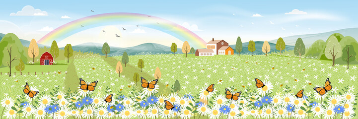 Cartoon panorama landscape of Spring field and wild flowers with butterfly flying, Lovely card with rainbow, sun,cloud and honey bee collecting pollen on flowers in sunny day, Summer background Fototapete