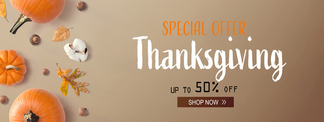 Wall Mural - Thanksgiving sale with autumn pumpkins with leaves